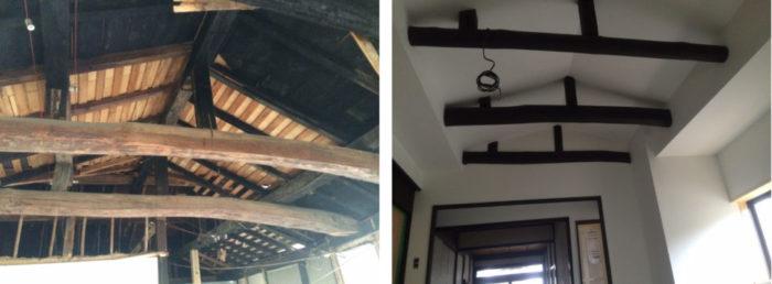 天井を抜くと大きな梁が出てきた